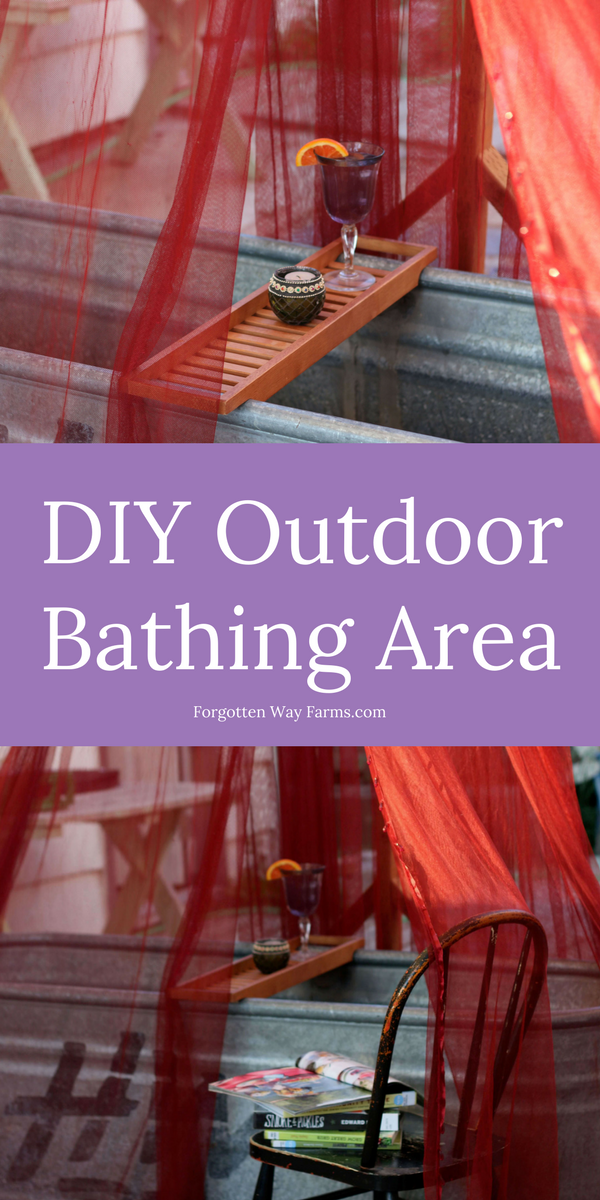 Easy DIY Outdoor Bathing Area! Everyone needs this in their backyard, I'm in love with this idea.