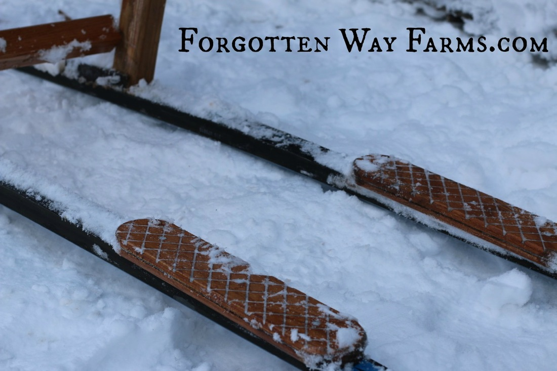 Homemade Kicksled, what a great idea to keep your feet from slipping!