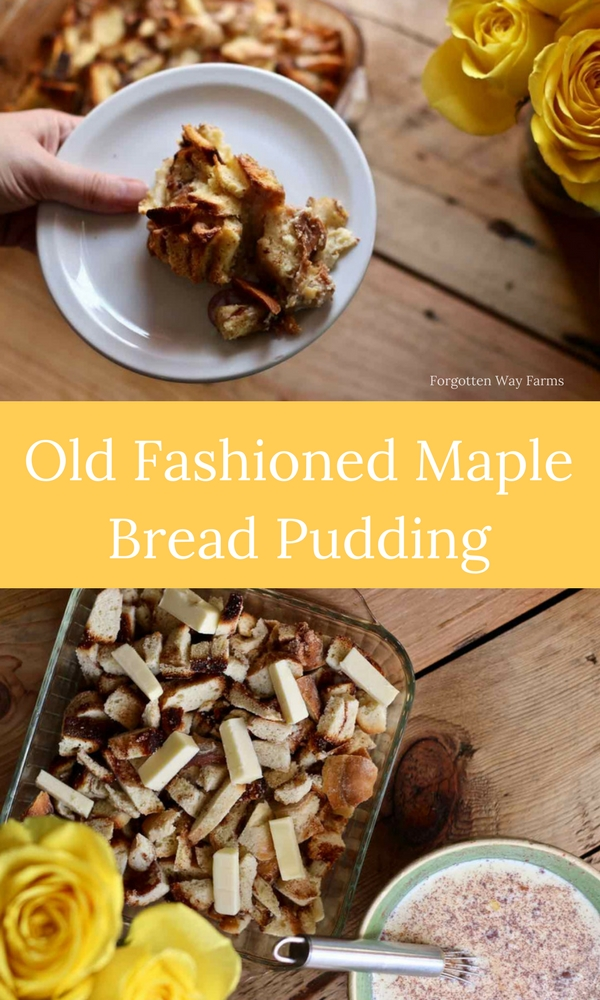 Old Fashioned Maple Bread Pudding at Forgotten Way Farms! LOVE this website and their beautiful photos and recipes.