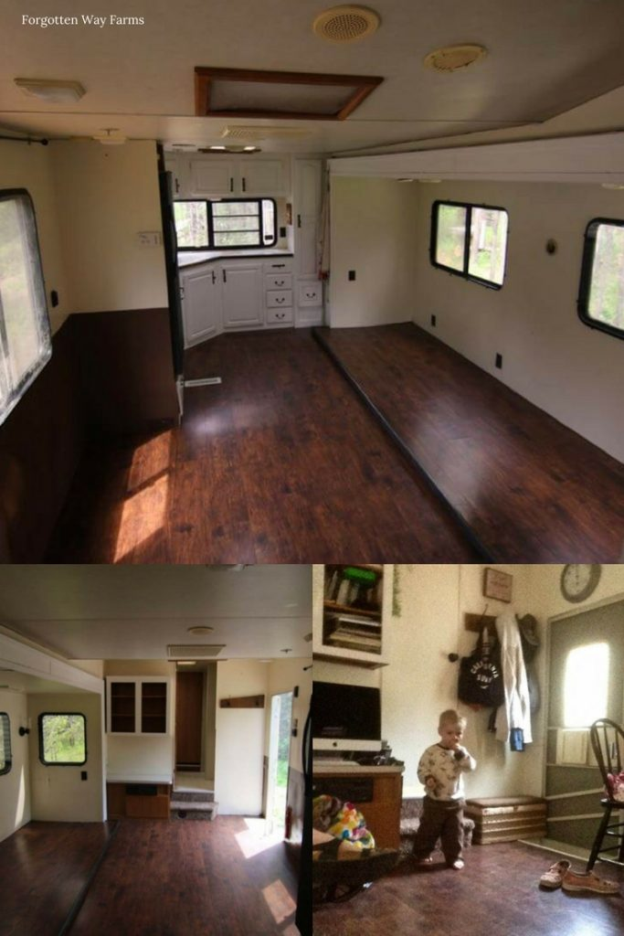 WOW! LOVE that wood floor in a 5th wheel, such a good idea.... Forgotten Way Farms Top Ten Cheap DIY RV Remodel Ideas