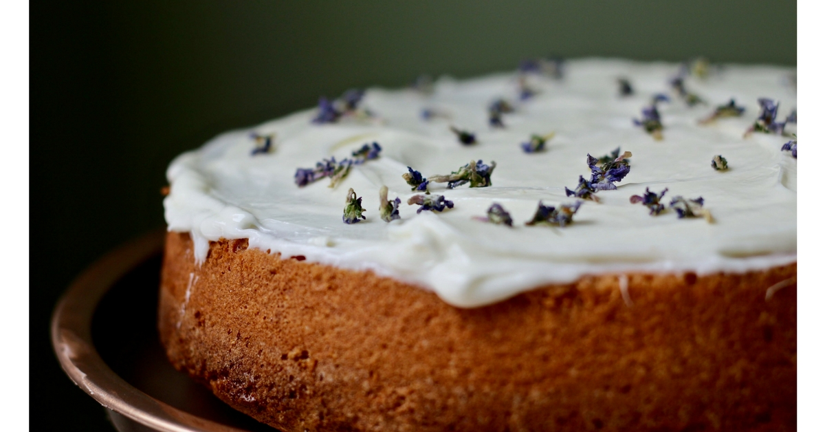 A Simple French Yogurt Cake with a cream cheese frosting and wild violets! <3 This website!