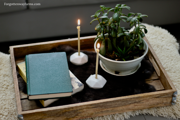 A coffee table with books, plants, and candles on it.