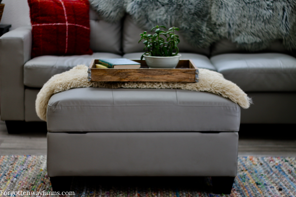 Ottoman turned into a coffee table with fur draped over it and a tray holding a plant on top.