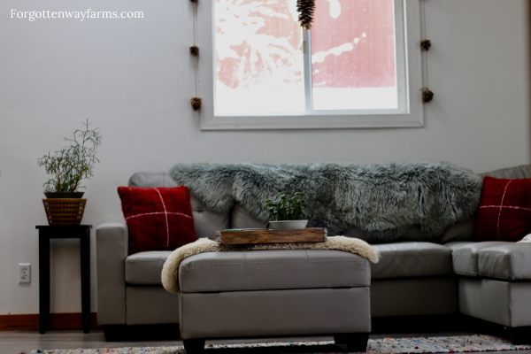 A grey couch covered in furs, blankets and pillows in a Cozy Living Room.
