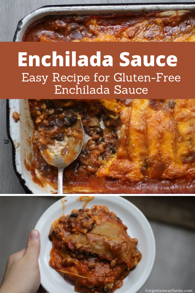 "An image with a banner that says ""Easy Recipe for Gluten-free Enchilada Sauce"""