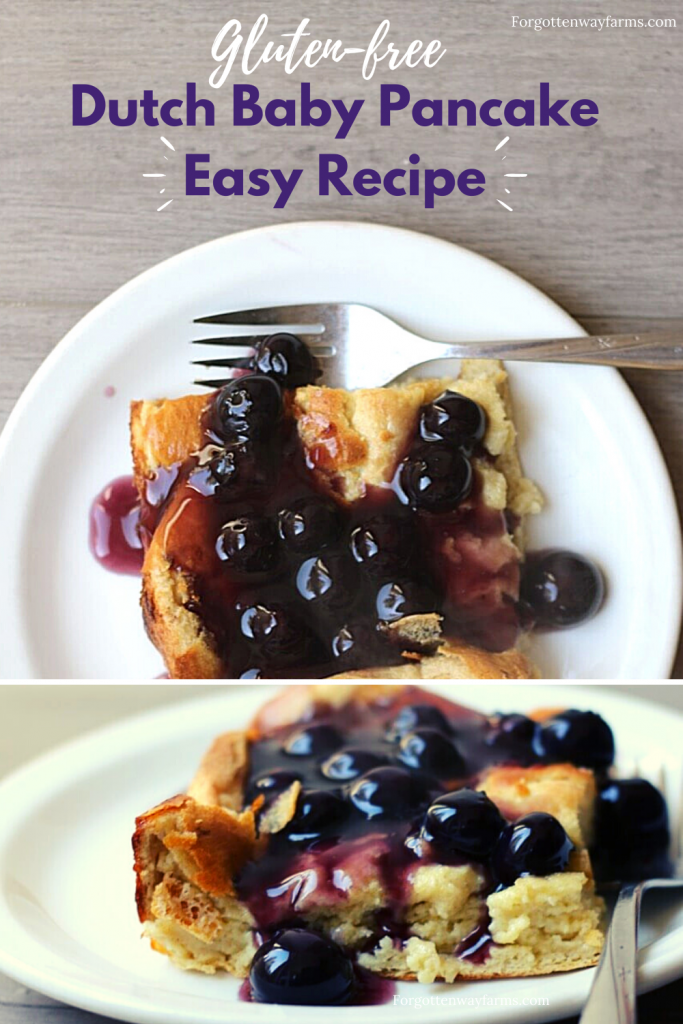 Image that says Gluten-free Dutch Baby Pancake Easy Recipe