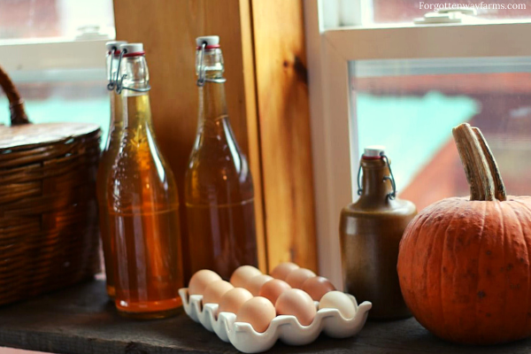 Cider, eggs and a pumpkin on a shelf
