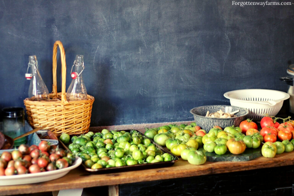 Counter covered with green tomatoes.